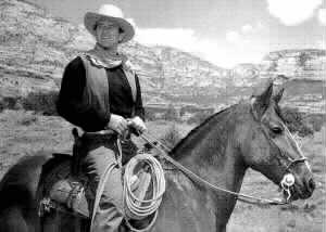 Banner with John Wayne