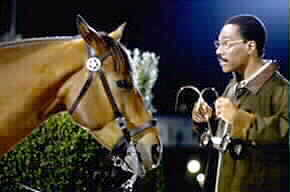 Eddie Murphy and horse in movie Dr. Doolittle