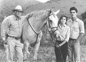 Farnsworth, Gilbert, Schoeffling with horse Sylvester